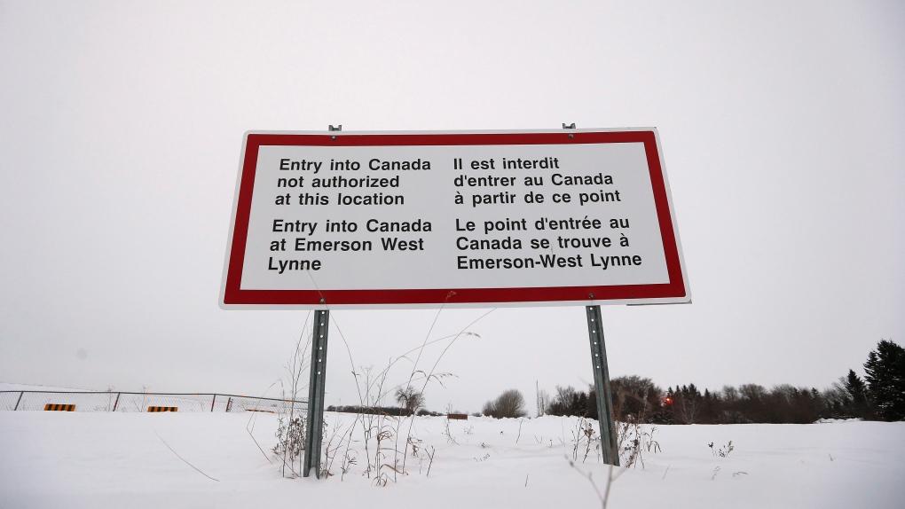 Border sign at Emerson, Manitoba