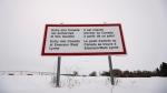 A sign is seen near Emerson, Man., on Thursday, Feb. 9, 2016. (John Woods / THE CANADIAN PRESS)