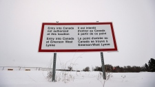 Border sign at Emerson, Manitoba