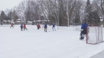 Members of Pointe-Claire Old Timers Hockey Club play shinny hockey at their Winter Classic.