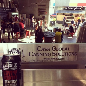 Entrepreneurs with Casks Global Canning Solutions are shown at an event in Australia on Oct. 14, 2016. (Cask Brewing Systems / Twitter)