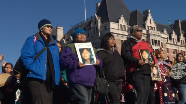 Hundreds of people in Victoria paused to remember and honour missing and murdered indigenous women on Sunday. Feb. 12, 2017 (CTV Vancouver Island)