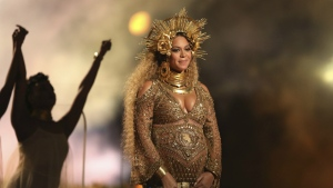 Beyonce performs at the 59th annual Grammy Awards in Los Angeles on Sunday, Feb. 12, 2017. (Matt Sayles / Invision)