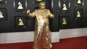 CeeLo Green as his alter ego Gnarly Davidson arrives at the 59th annual Grammy Awards at the Staples Center in Los Angeles on Sunday, Feb. 12, 2017. (Jordan Strauss / Invision)