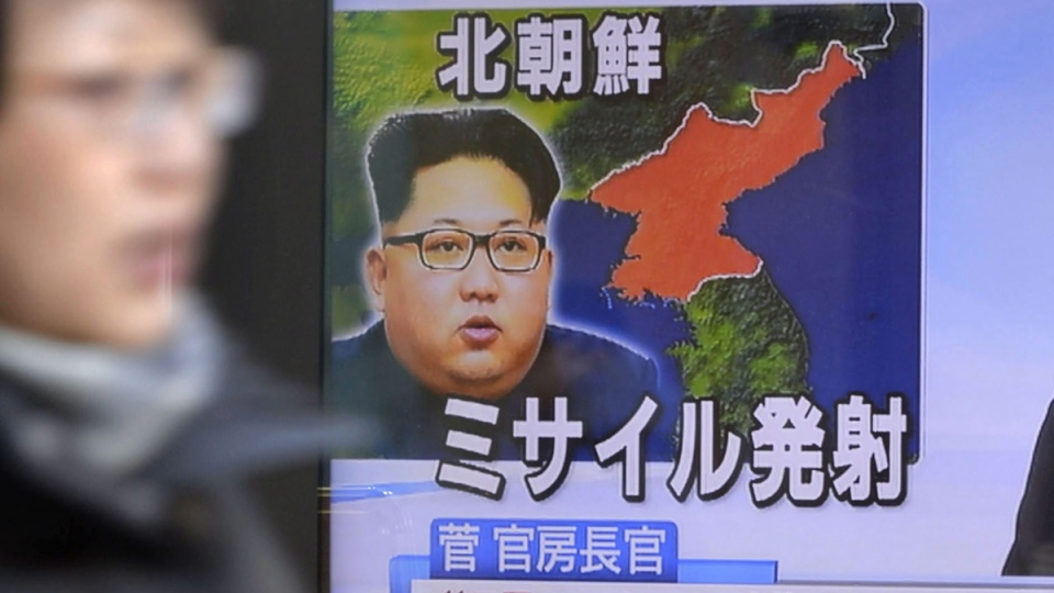 TV news in Tokyo, on Feb. 12, 2017, reporting about a missile launch by North Korea . (Yoshitaka Sugawara/Kyodo News via AP)