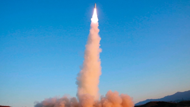 North Korea image of 'Pukguksong-2' missile launch