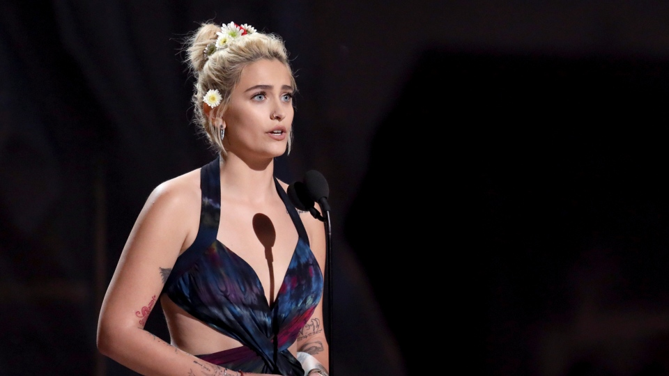 Paris Jackson introduces a performance by The Weeknd and Daft Punk at the 59th annual Grammy Awards on Sunday, Feb. 12, 2017, in Los Angeles. (Photo by Matt Sayles/Invision/AP)