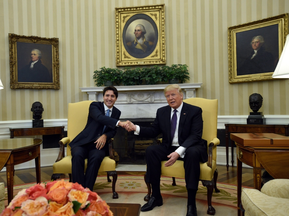 Prime Minister Justin Trudeau meets with U.S. President Donald Trump in the Oval Office of the White House, in Washington, D.C., on Monday, Feb. 13, 2017. THE CANADIAN PRESS/Sean Kilpatrick