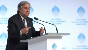 United Nations Secretary-General Antonio Guterres at the World Government Summit in Dubai, United Arab Emirates, on Feb. 13, 2017. (AP)