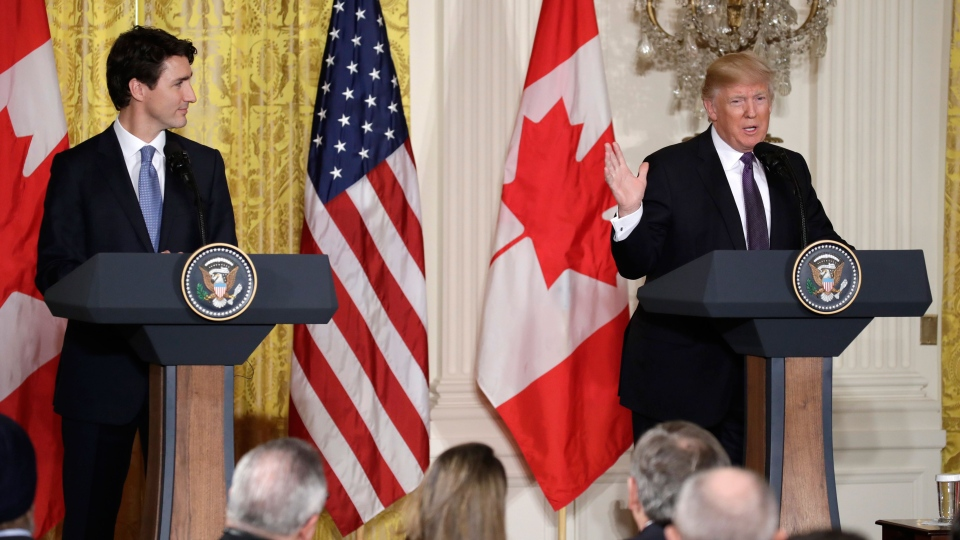 President Donald Trump and Canadian Prime Minister Justin Trudeau participate in a joint news conference in the East Room of the White House in Washington on Monday, Feb. 13, 2017. (AP / Evan Vucci)