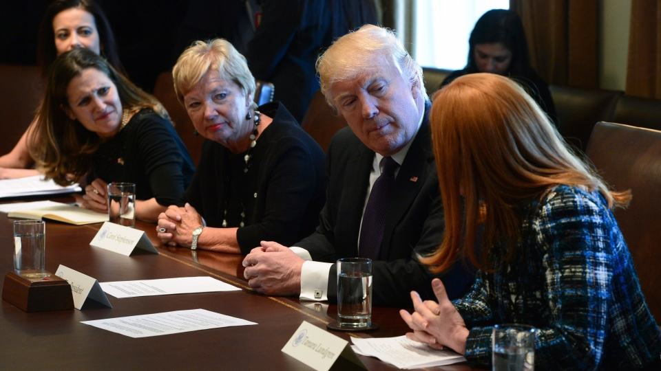 U.S. President Donald Trump participates in a discussion with female leaders, including Canada's Foreign Minister Chrystia Freeland (left), at the White House, in Washington, D.C., on Monday, Feb. 13, 2017. (THE CANADIAN PRESS/Sean Kilpatrick)
