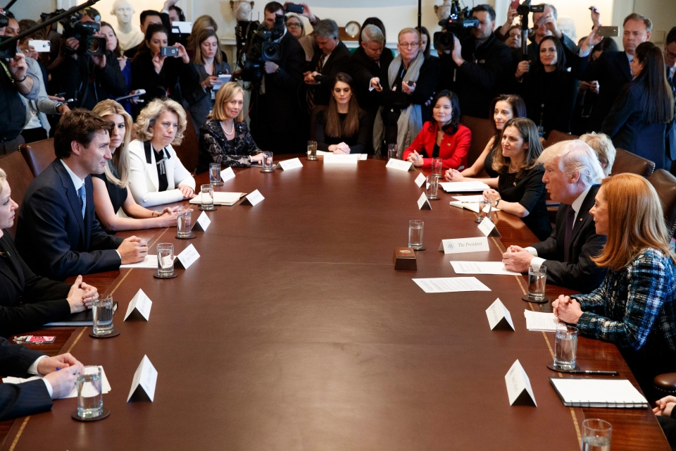 President Donald Trump and Canadian Prime Minister Justin Trudeau host a meeting with women business leaders in the Cabinet Room of the White House in Washington, Monday, Feb. 13, 2017. (AP Photo/Evan Vucci)