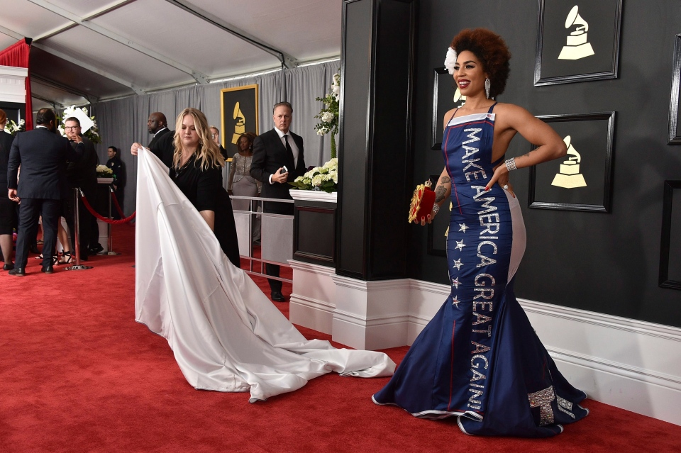Joy Villa wears a gown that says 'Make America Great Again' at the 59th annual Grammy Awards at the Staples Center on Sunday, Feb. 12, 2017, in Los Angeles. (Photo by Jordan Strauss/Invision/AP)