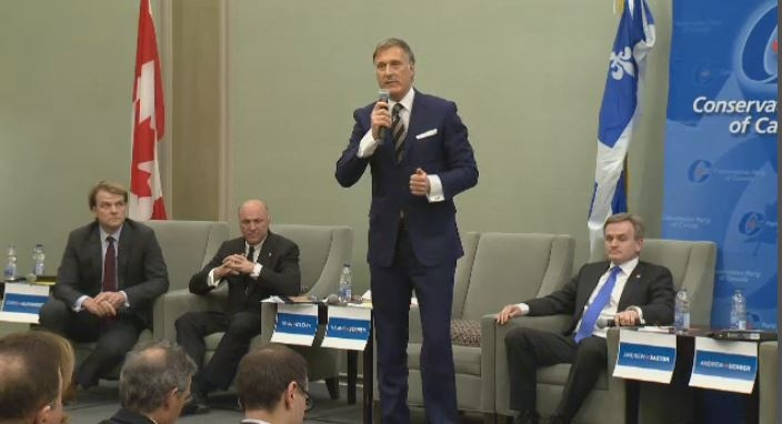 Maxime Bernier makes his pitch at the Conservative debate in Montreal.