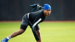 Toronto Blue Jays starting pitcher Marcus Stroman warms up prior to the official Blue Jays baseball spring training in Dunedin, Fla., on February 13, 2017. (Nathan Denette/The Canadian Press)