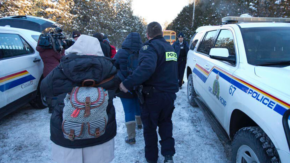 The RCMP arrested four people who illegally crossed the border into Canada on Feb. 14, 2017 (CTV Montreal/Caroline Van Vlaardingen)