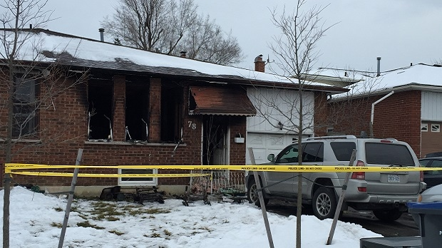 Three people are dead and a young girl remains in hospital with serious injuries following a house fire in Brampton on Feb. 14, 2017. (Nick Dixon/CP24)