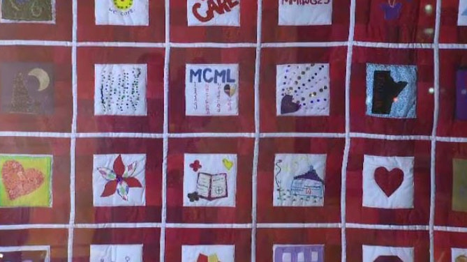 "The ""We Care Quilt"" is a combination of 42 different squares handcrafted into one symbol of care."
