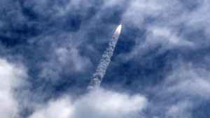 India's Polar Satellite Launch Vehicle (PSLV-C30) lifts off from the Satish Dhawan Space Centre in Sriharikota, South India, Monday, Sept. 28, 2015. (AP / Arun Sankar)