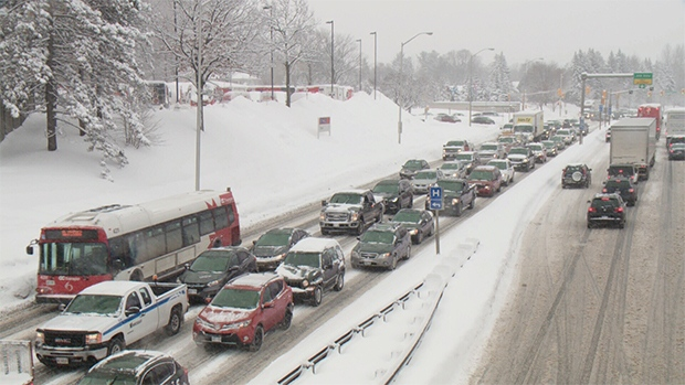 Snowy commute and traffic gridlock in the capital.