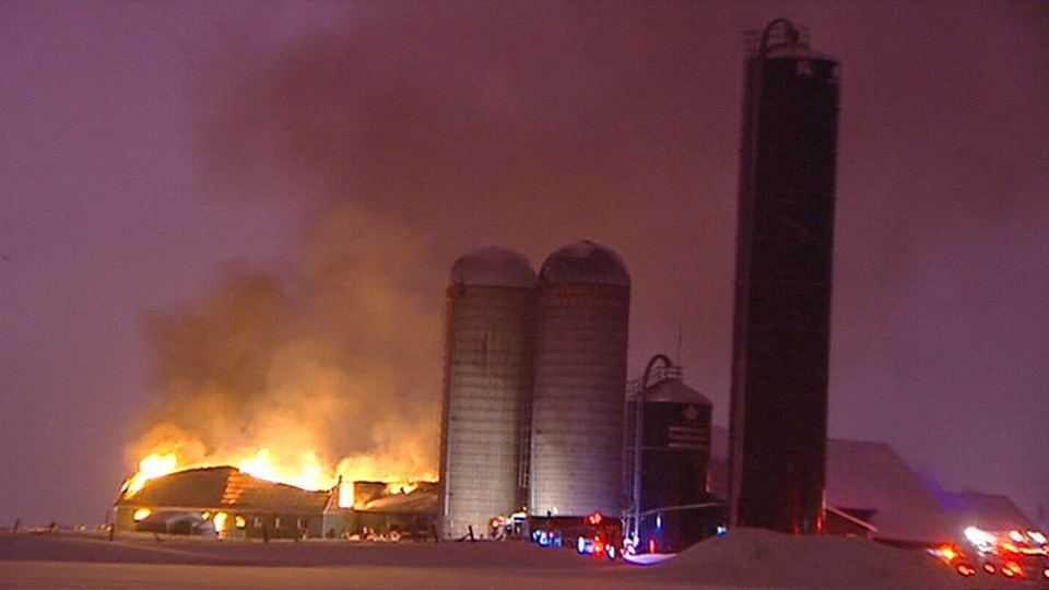 Flames are seen tearing through a barn at the Scullion Farm on Greber Boulevard in Gatineau in the early hours of Wednesday, Feb. 15, 2017.
