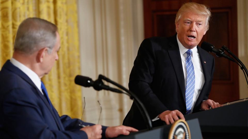 Israeli Prime Minister Benjamin Netanyahu listens as U.S. President Donald Trump speaks in the East Room of the White House in Washington, on Feb. 15, 2017. (Pablo Martinez Monsivais / AP)