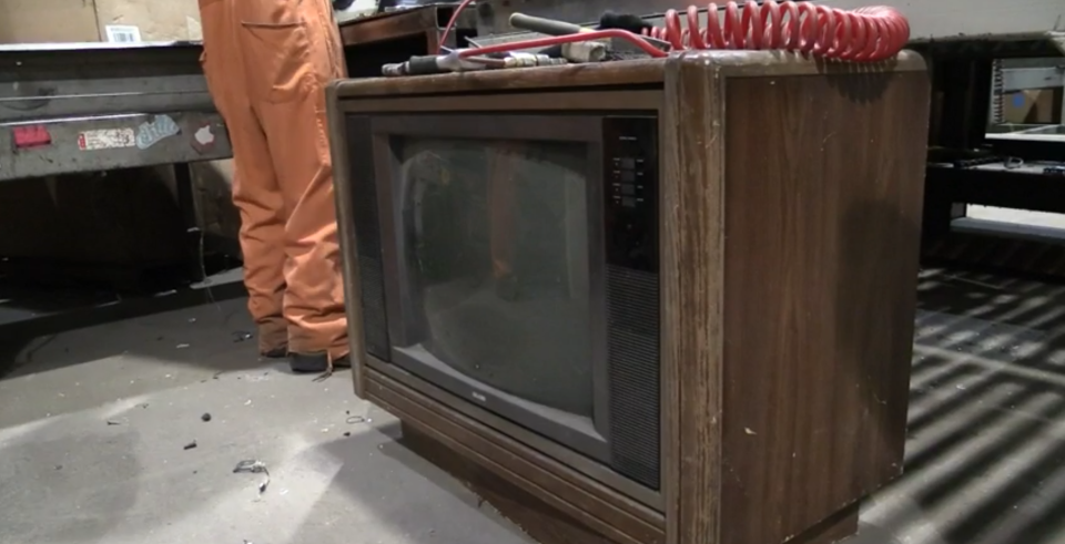 More than $100,000 was found in an old television similar to this one seen at GEEP Industries in Barrie, Ont. on Wednesday, Feb. 15, 2017. (Brandon Gonez/ CTV Barrie)