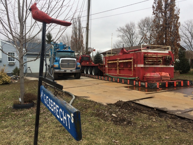 Work can begin on capping a leaking well in Leamington, Ont., on Wednesday, Feb. 15, 2017. (Michelle Maluske / CTV Windsor)