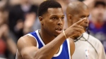 Toronto Raptors guard Kyle Lowry (7) celebrates after sinking a three-pointer during second half NBA basketball action against the Charlotte Hornets in Toronto on Wednesday, Feb. 15, 2017. THE CANADIAN PRESS/Frank Gunn