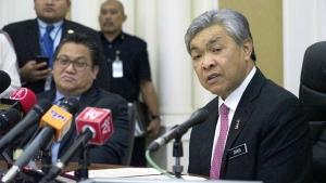 Malaysian Deputy Home Minister Zahid Hamidi, right, speaks to media during a press conference in Putrajaya, Malaysia on Thursday, Feb. 16, 2017. (AP / King Chai)