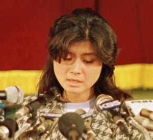 In this Jan. 15, 1988, file photo, Kim Hyon-hui, a North Korean who bombed a Korean Air Lines jet in 1987, confesses at a press conference in Seoul, South Korea. (AP Photo/Bei Yeon-Hong, File)