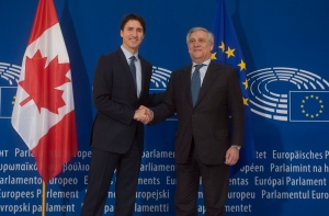 Canadian Prime Minister Justin Trudeau is greeted by the President of the European Parliament, Antonio Tajani as he arrives at the European Parliament in Strasbourg, France, Thursday, February 16, 2017. THE CANADIAN PRESS/Adrian Wyld