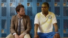 This image released by Warner Bros. Pictures shows Charlie Day, left, and Tracy Morgan in a scene from 'Fist Fight.'