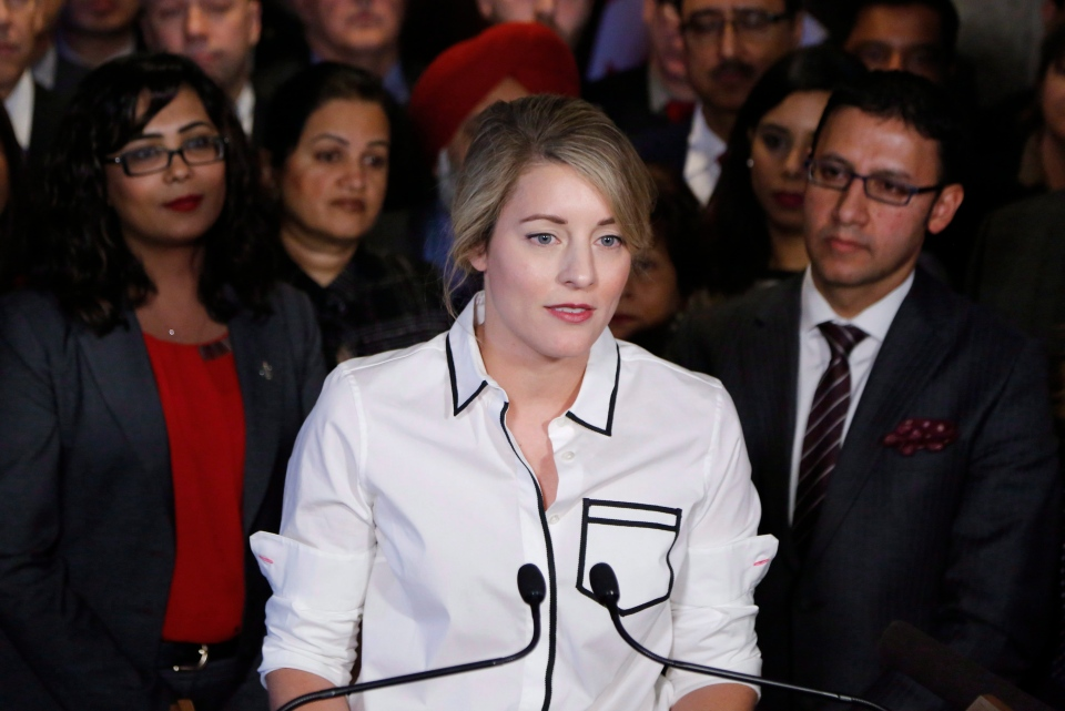 Canadian Heritage Minister Melanie Joly makes an announcement about an anti-Islamophobia motion on Parliament Hill in Ottawa on Wednesday, Feb. 15, 2017. (Patrick Doyle / THE CANADIAN PRESS)