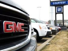 The front grill of a GMC truck is shown at a General Motors dealership in Toronto on Thursday, March 5, 2009. (Nathan Denette / THE CANADIAN PRESS)