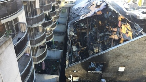 The gutted Badminton and Racquet club following a massive six-alarm blaze. (Photo courtesy of Toronto Fire Chief Matthew Pegg)