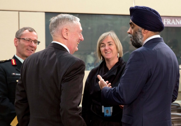 Harjit Sajjan with James Mattis at NATO