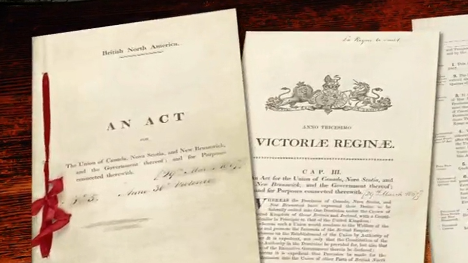 Electronic images of the British North America Act of 1867 are seen here.