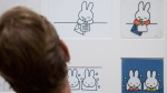 Drawings of Miffy created by Dutch illustrator Dick Bruna are displayed at Amsterdam's Rijksmuseum, on Aug. 27, 2015. (Peter Dejong / AP)