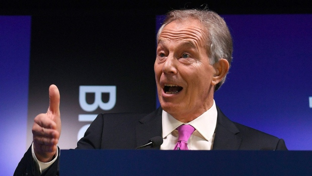 Tony Blair speaks in London