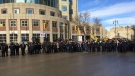 """The large crowd walked to Portage and Main, held hands in a circle and chanted """"one life too many."""" (Source: Jamie Dowsett/CTV News)"""
