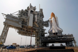 In this Friday, June 17, 2011 file photo, space shuttle Atlantis is mounted on Pad 39A at the Kennedy Space Center in Cape Canaveral, Fla. (AP / John Raoux)