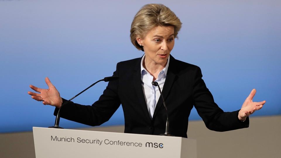 German Defence Minister Ursula von der Leyen speaks during the Munich Security Conference in Munich, southern Germany, Friday, Feb. 17, 2017. (AP / Matthias Schrader)