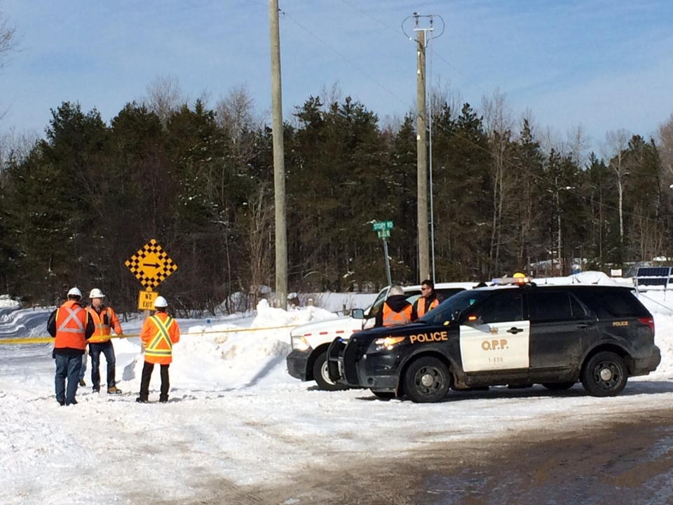 Provincial police investigate a fatal crash involving a snowmobile and and a train in Midhurst, Ont. on Friday, Feb. 17, 2017. (Steve Mansbridge/ CTV Barrie)