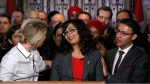 Member of Parliament Iqra Khalid is congratulated by colleagues as she makes an announcement about an anti-Islamophobia motion on Parliament Hill in Ottawa on Wednesday, Feb. 15, 2017. (Patrick Doyle / THE CANADIAN PRESS)