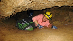 New Mexico Tech professor Penny Boston during an expedition in Fort Stanton Cave, N.M., on July 3, 2008.  Boston has presented new findings of ancient microbes trapped in crystals in Mexico. (Susan Montoya Bryan / AP)