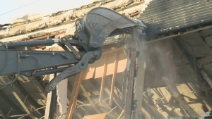 A building on Laurier Ave. is destroyed after the roof collapsed on Feb. 17, 2077
