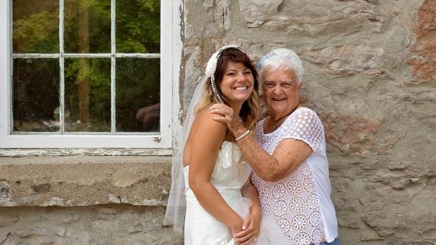 Amanda Scott and her grandmother, May Smith, are seen on Scott's wedding day July 31, 2016. (Jeff Jones Photography)