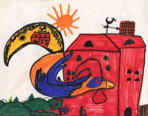 Weather art by Daniel, age 7 in 2003.