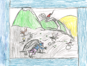 Weather art by Cody, Grade 4.